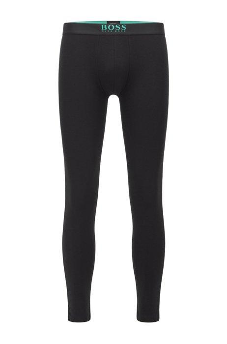 Logo-waistband long johns in a stretch-cotton blend, Black