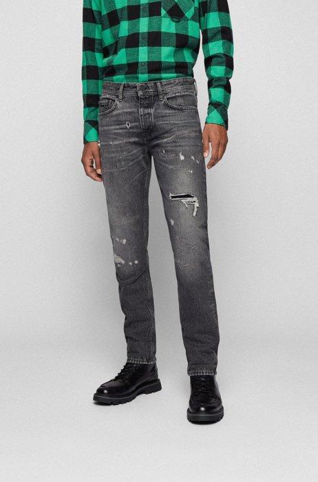 Tapered-fit jeans van zwart denim in used-look, Grijs