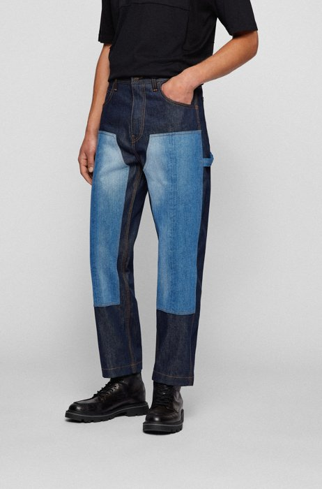 Relaxed-fit jeans in mixed repurposed denim, Dark Blue