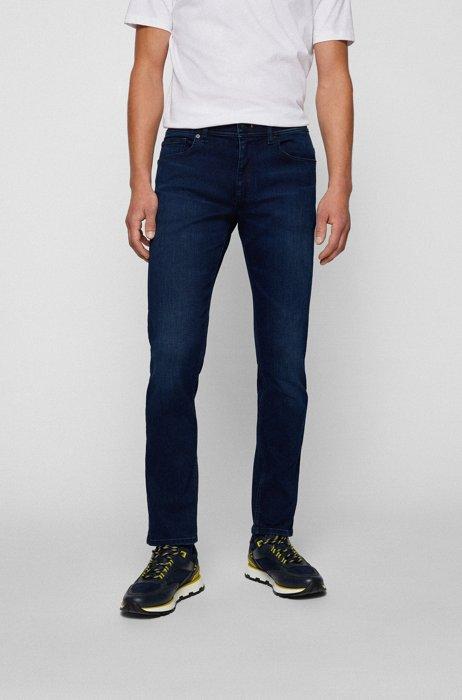 Slim-fit jeans in dark-blue super-stretch denim, Dark Blue