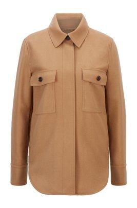 Overshirt-style jacket in a virgin-wool blend, Light Brown