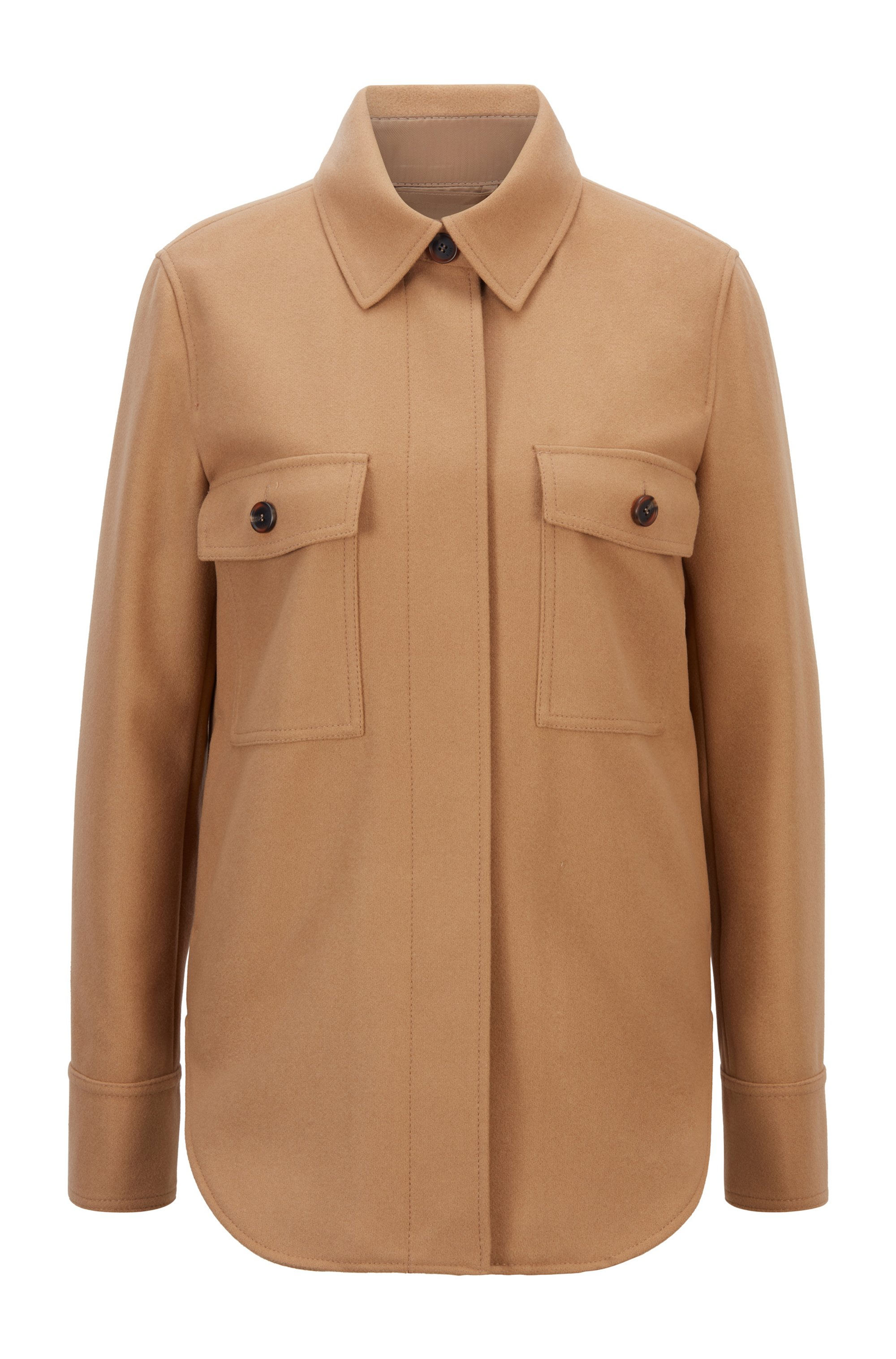 Overshirt-style jacket in a virgin-wool blend, Light Brown