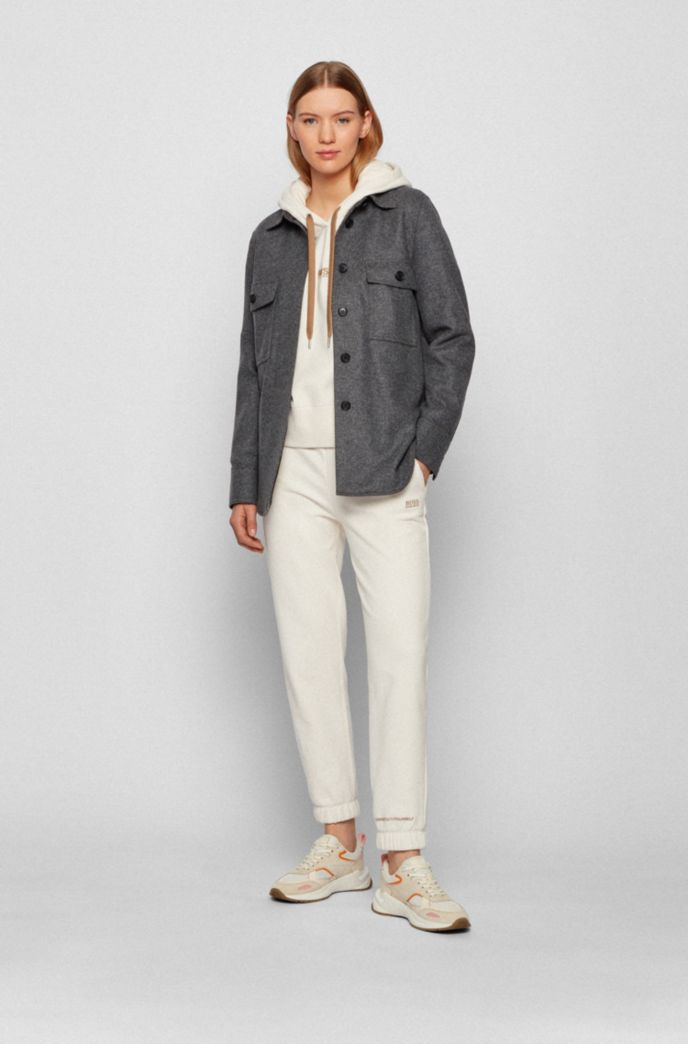 Overshirt-style jacket in wool-blend flannel