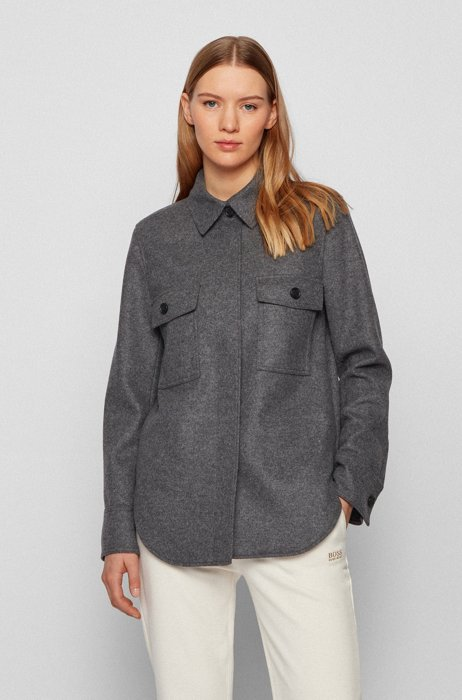 Overshirt-style jacket in wool-blend flannel, Grey