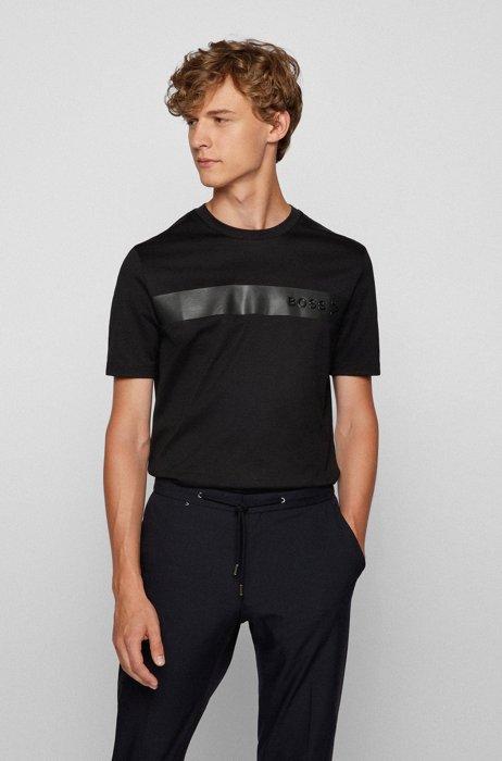 Logo-T-shirt van vochtafvoerende, gemerceriseerde katoen, Zwart