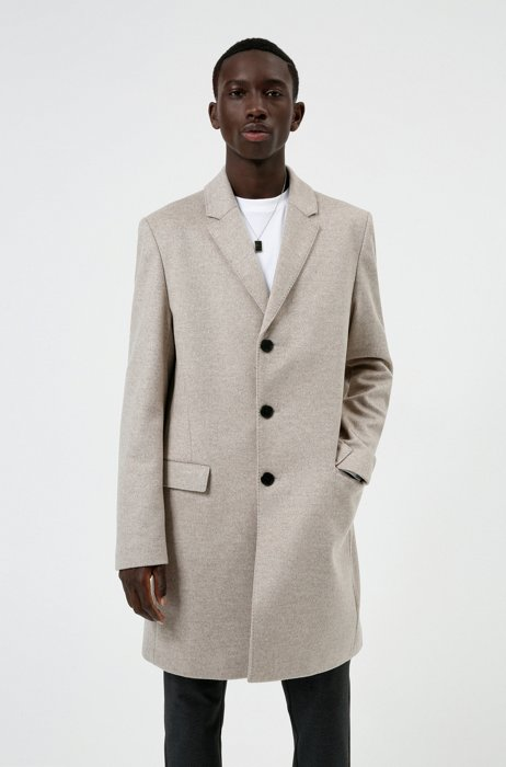 Slim-fit coat in a wool blend with cashmere, Light Brown