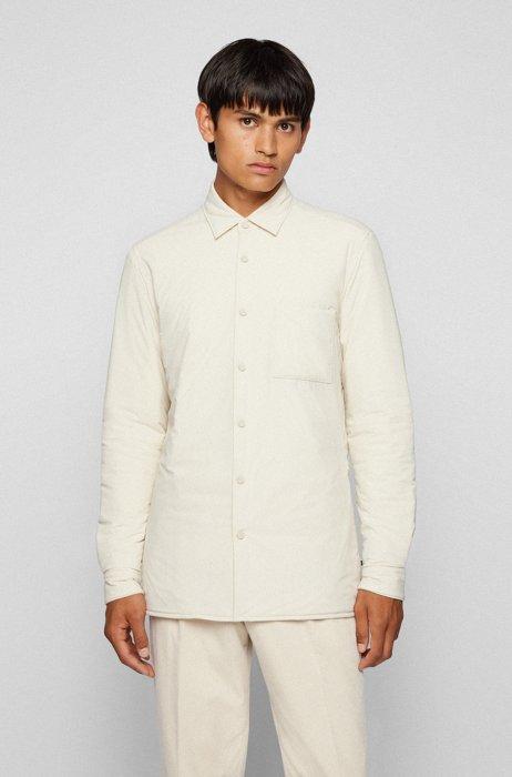 レギュラーフィットシャツ ポプリン キルティング, ホワイト