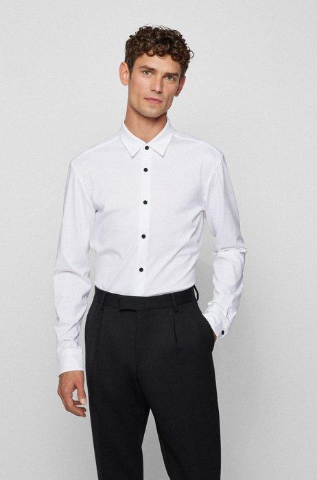 スリムフィットシャツ パフォーマンスストレッチ コットンブレンド, ホワイト