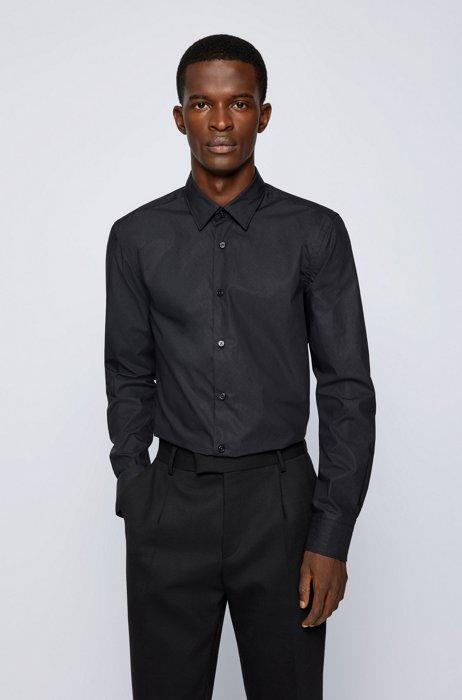 Chemise Slim Fit en coton lisse à imprimé monogramme, Noir