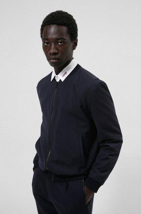 Extra-slim-fit jacket in a striped wool blend, Dark Blue