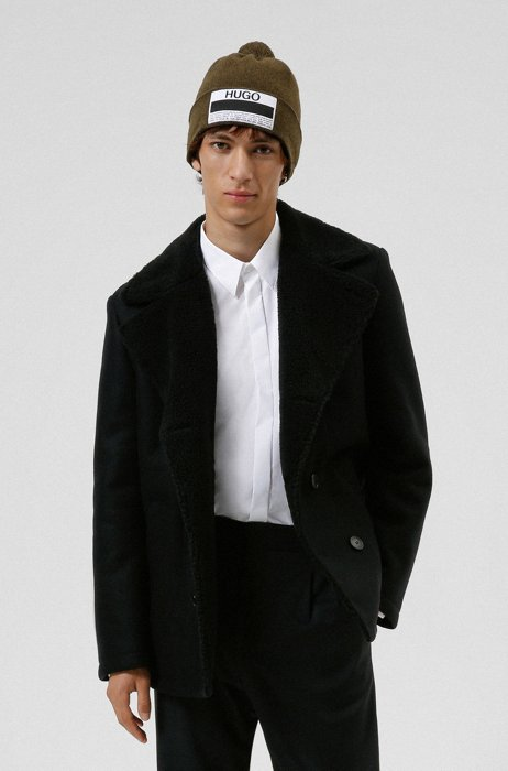 Double-breasted slim-fit coat with teddy collar, Black