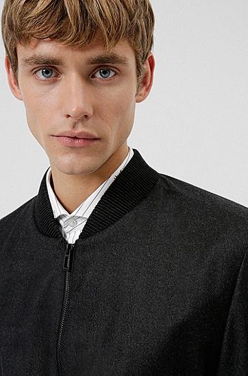 混色弹力羊毛面料修身夹克,  021_Dark Grey