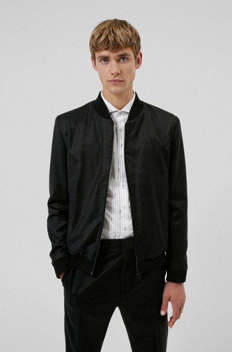 Extra-slim-fit jacket in melange stretch wool, Dark Grey