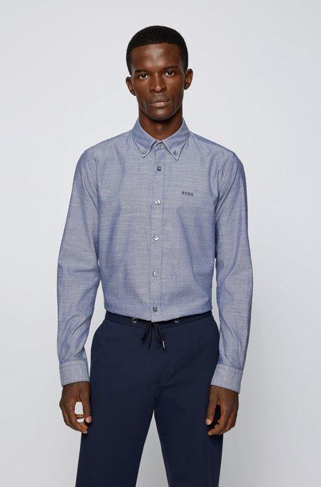 Chemise Slim Fit en coton Oxford biologique, avec col à pointes boutonnées, Bleu foncé