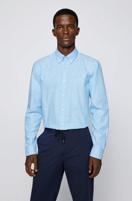 ボタンダウン スリムフィットシャツ オーガニック オックスフォードコットン, ライトブルー