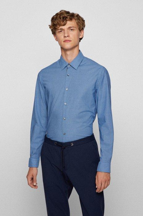Chemise Regular Fit en coton lavé à microcarreaux, Bleu