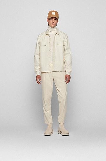 斜纹棉宽松外套衬衫,  131_Open White