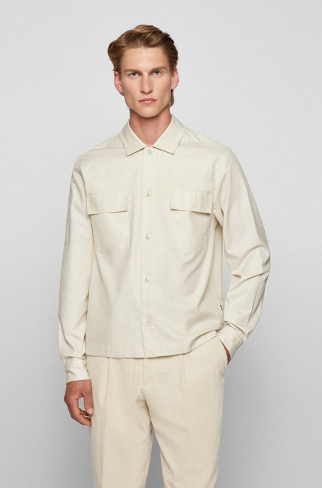 Relaxed-fit overshirt in cotton twill, White