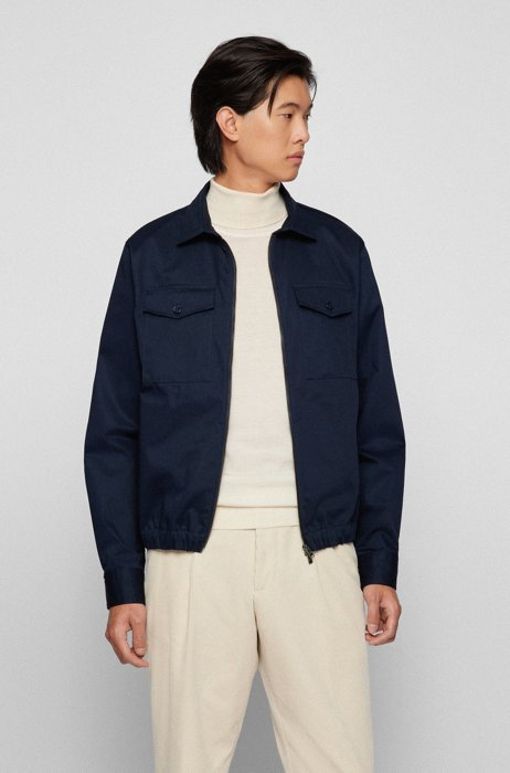 Zip-up regular-fit overshirt in heavyweight cotton twill, Dark Blue