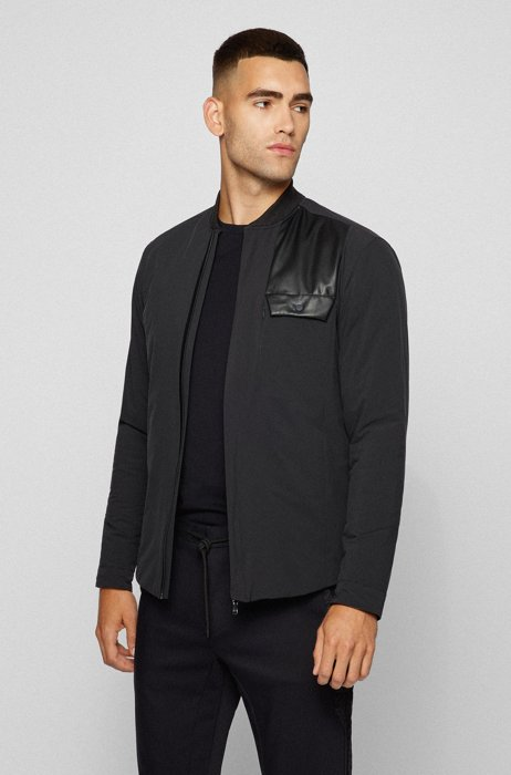 Mixed-material overshirt in a relaxed fit, Black