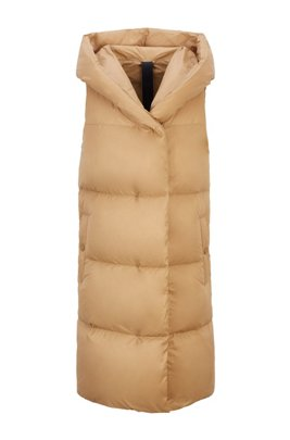 Long-length down gilet with water-repellent finish, Light Brown