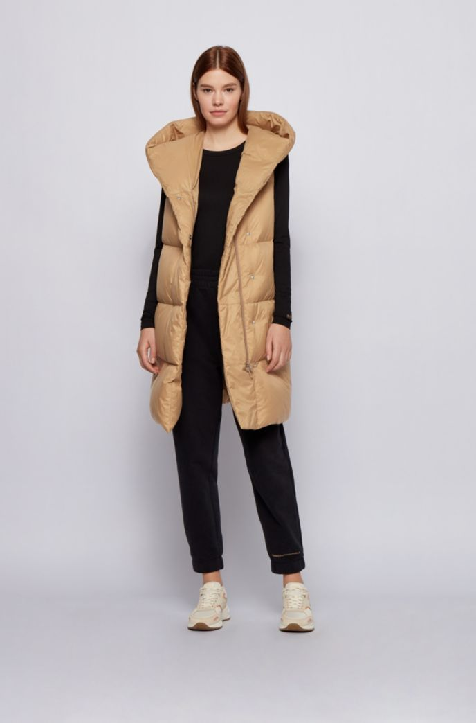 Long-length down gilet with water-repellent finish