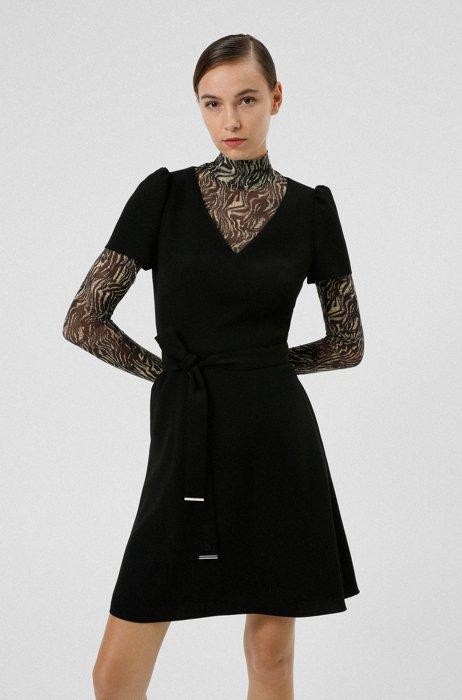 V-neck dress with hardware-tipped belt, Black