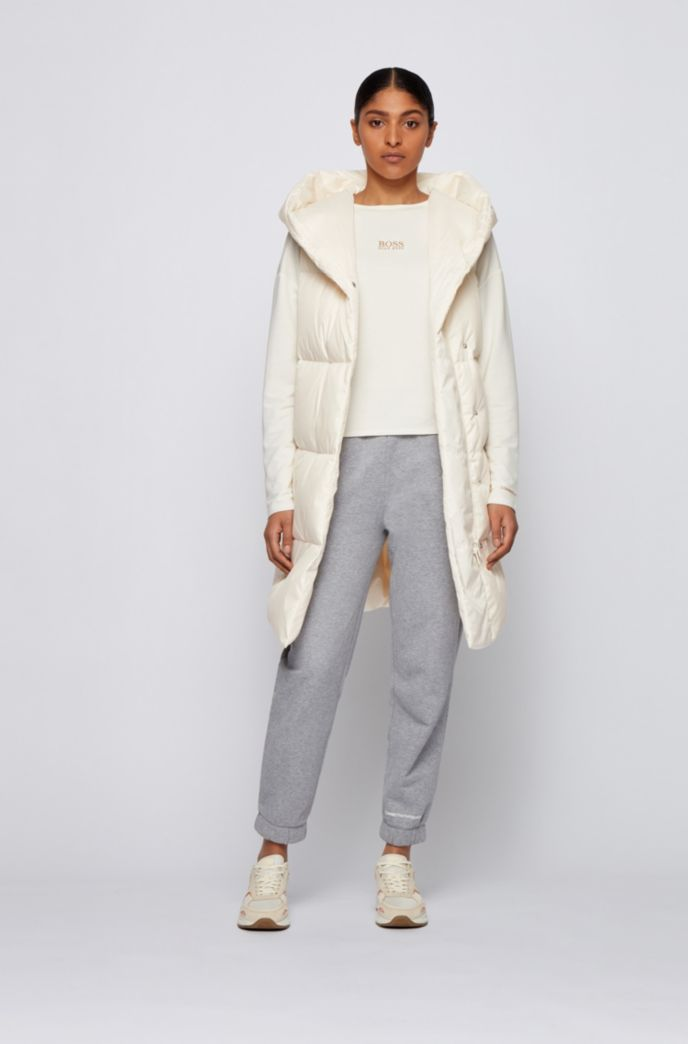 Water-repellent down gilet with hooded collar