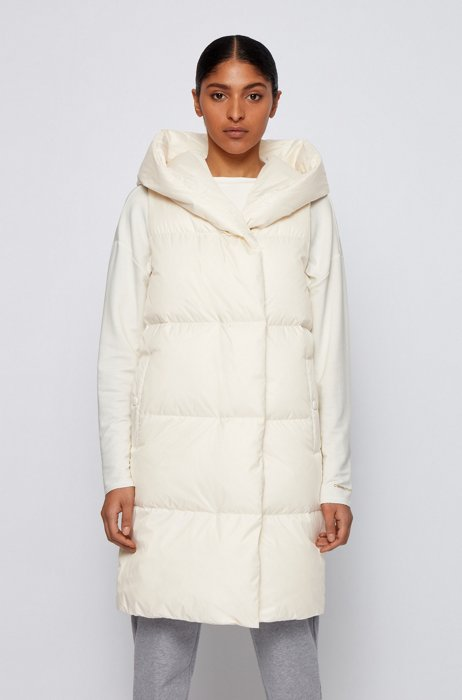 Water-repellent down gilet with hooded collar, White