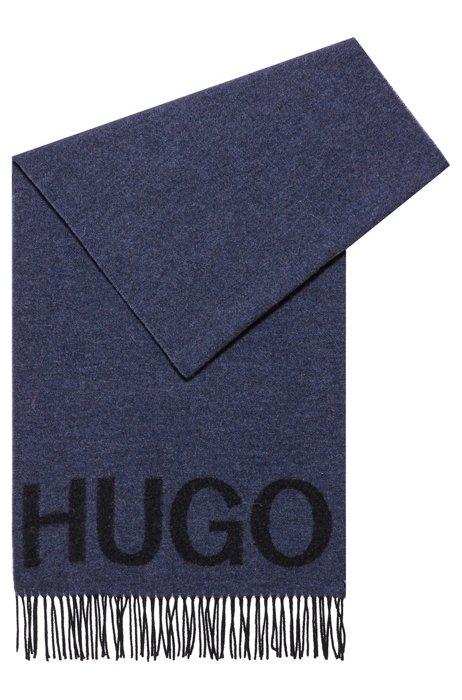 Unisex logo scarf in a wool-blend jacquard, Dark Blue