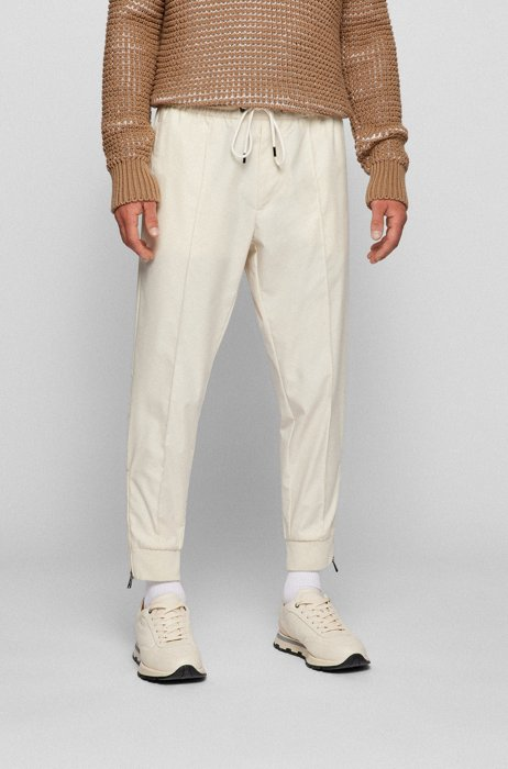 Relaxed-fit jersey trousers with zipped hems, Beige