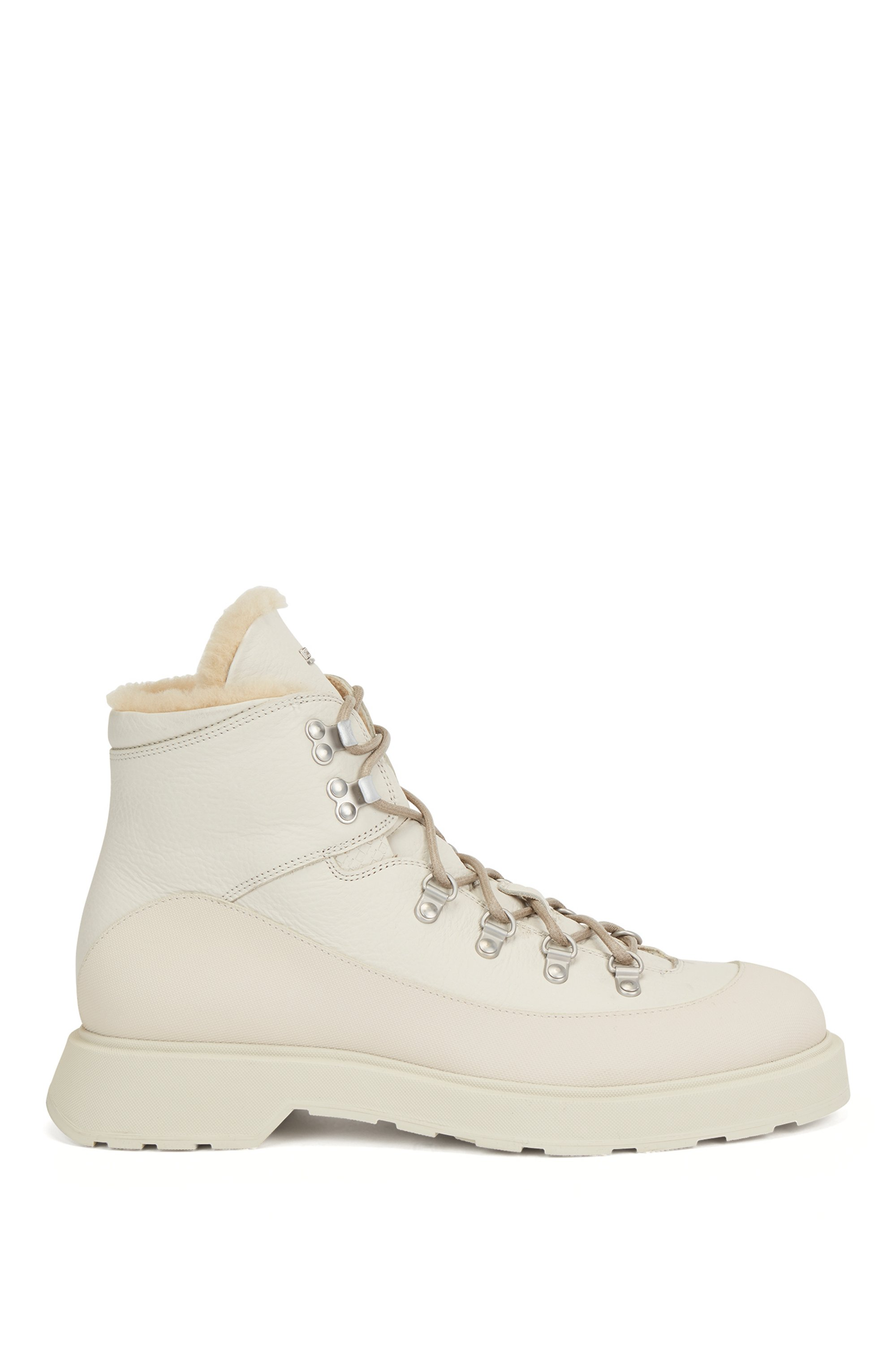 Hiking-style boots in printed leather with shearling lining, White