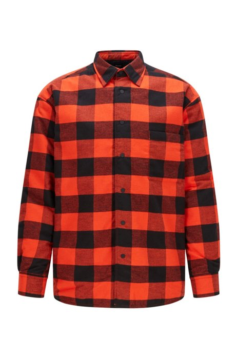 Oversized-fit overshirt in checked cotton flannel, Orange Patterned