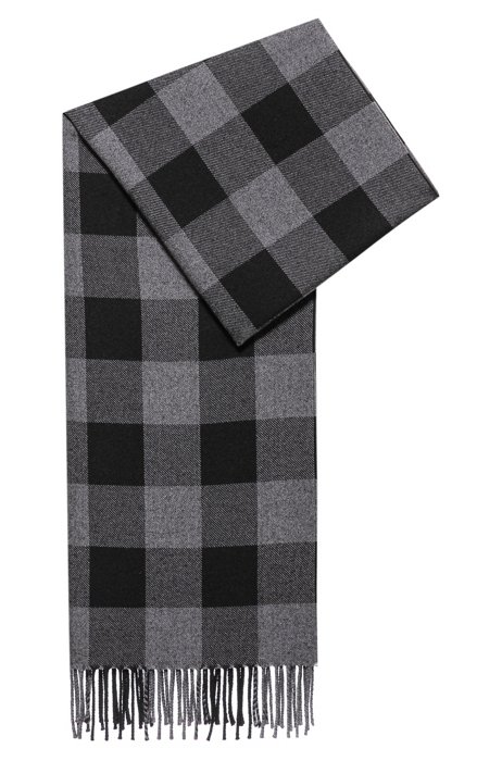 Checked scarf in soft twill with fringed trims, Black Patterned