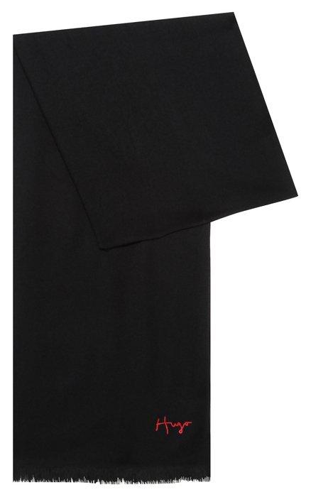Fringed scarf with handwritten logo, Black