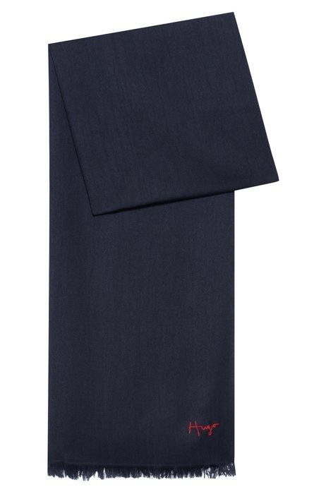 Fringed scarf with handwritten logo, Dark Blue