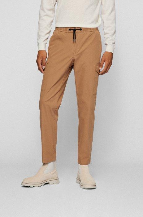 Slim-fit cargo trousers in a stretch-cotton blend, Beige