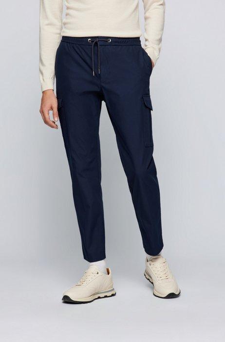 Slim-fit cargo trousers in a stretch-cotton blend, Dark Blue