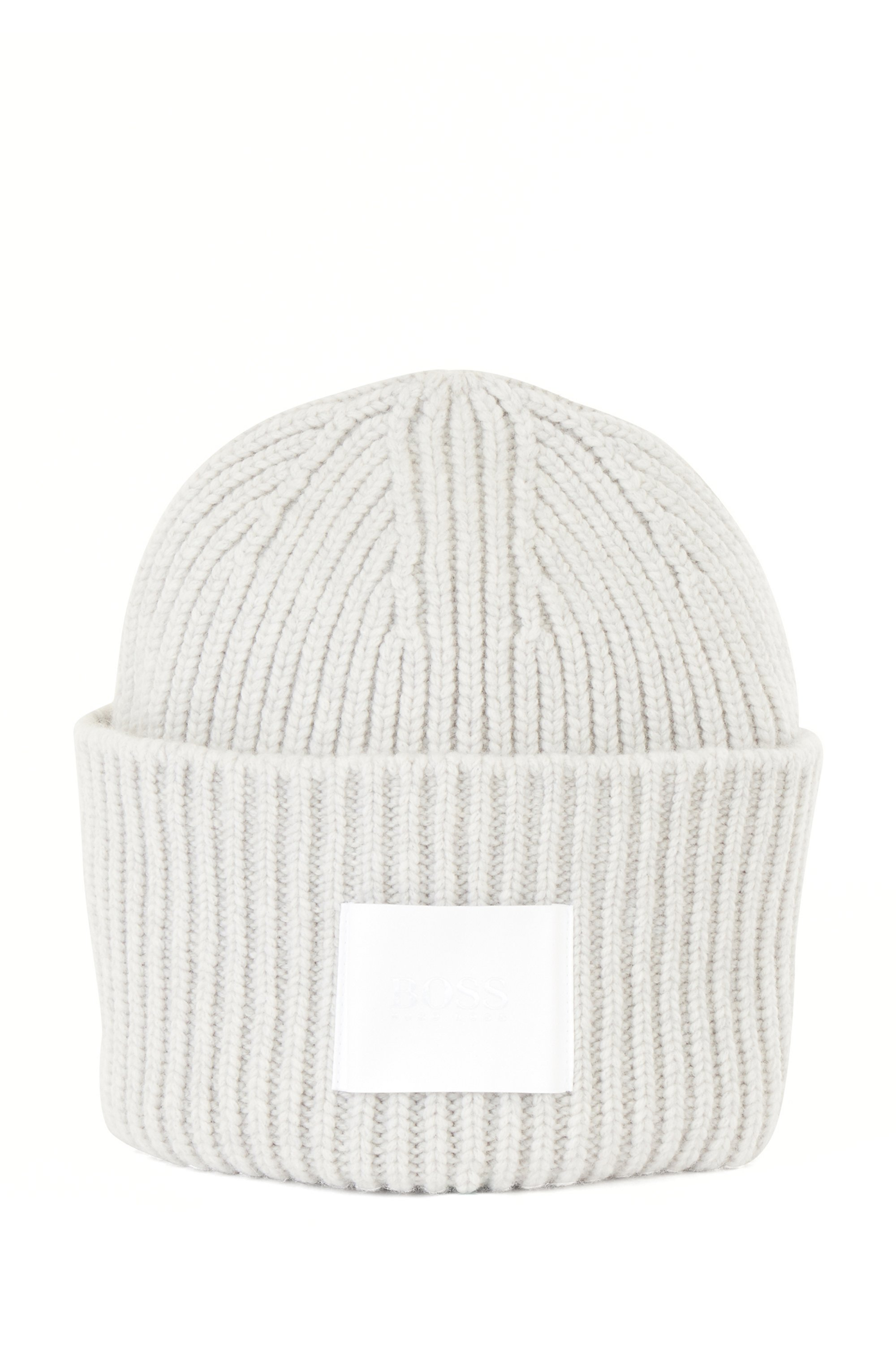 Ribbed beanie hat in virgin wool and cashmere, Silver