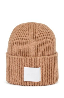 Ribbed beanie hat in virgin wool and cashmere, Light Brown