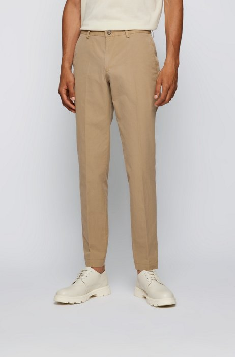 Slim-fit trousers in pure cotton with monogram lining, Light Beige