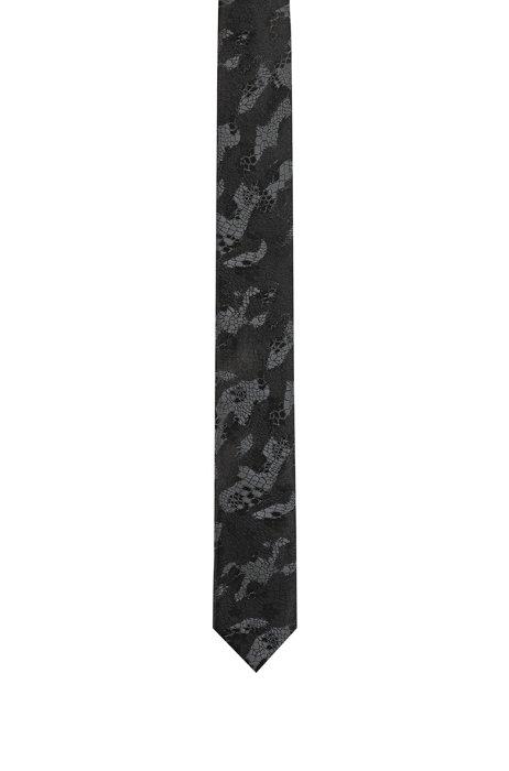 Cravatta in seta con jacquard pitonato, Nero a motivi