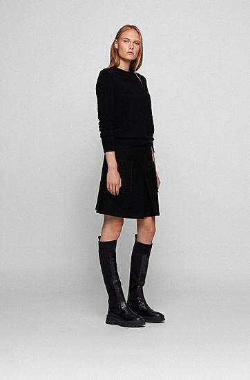 纯羊绒圆领毛衣,  001_Black