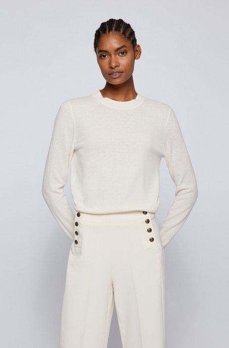 Crew-neck sweater in pure cashmere, White