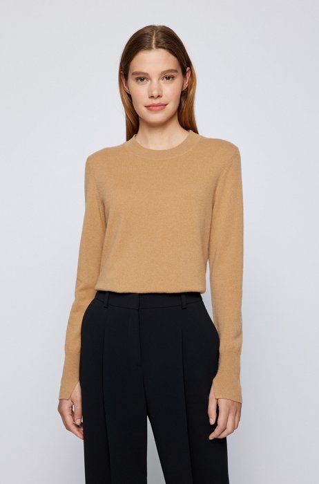Crew-neck sweater in pure cashmere, Light Brown