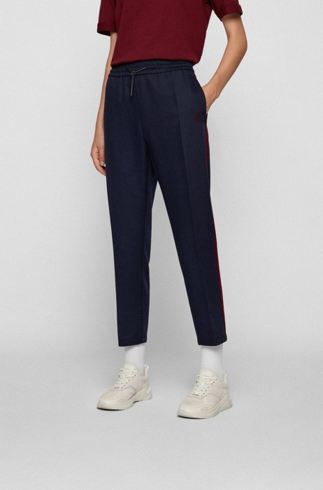 Relaxed-fit trousers in TENCEL™ Lyocell with contrast inserts, Dark Blue