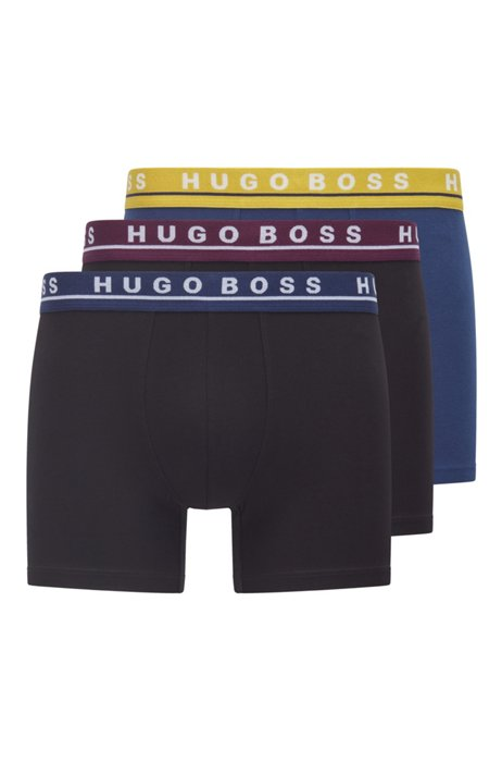 Three-pack of stretch-cotton boxer briefs with logo, Patterned