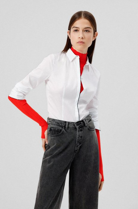 Cotton-blend slim-fit blouse with logo piping, White