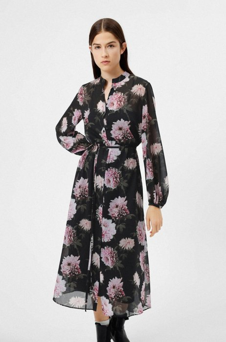 Shirt dress in recycled fabric with dahlia print, Patterned