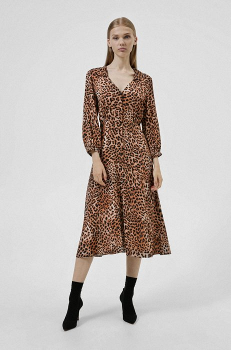 V-neck dress in cheetah-print fabric, Patterned